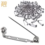 200 Pcs Silver Tone Brooch Pin Backs Clasp 1 Inch Bar Pins Findings 3 Holes Safety Pins for Badge Insignia, Citation Bars, Making Corsage, Name Tags, Toy Pins and Jewelry Making by STARVAST