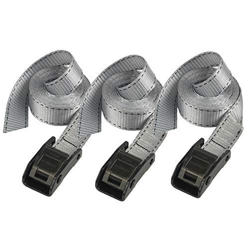 Master Lock 3110EURDATB Gepäckgurt mit Zamak legierten Bügel, Grau, 2,50 m x 25 mm Gurt, 3-er Set