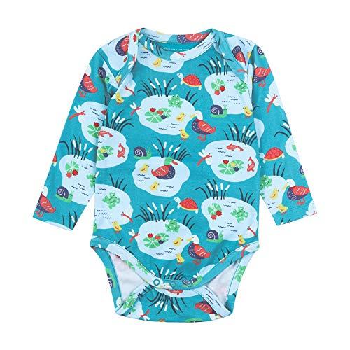 Piccalilly - Body para bebé, manga larga, algodón orgánico, estampado Pondlife Azul azul 12-18 Meses