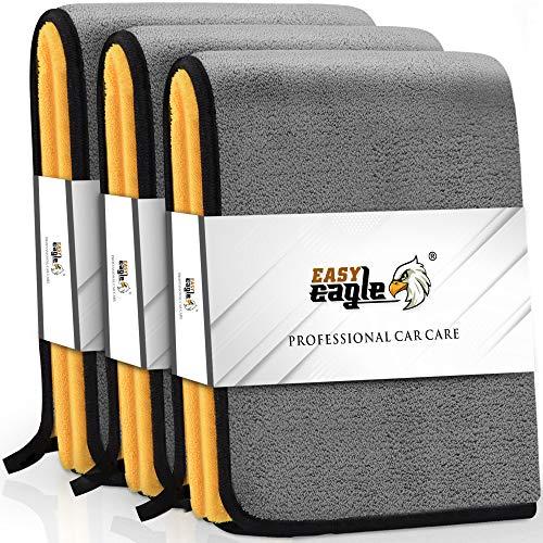 EASY EAGLE Toalla Secado Coche 1200GSM, 38x45CM Bayetas de Limpieza de Microfibra, Paños Versátiles Grises y Amarillos (Borde Negro), 3 Piezas
