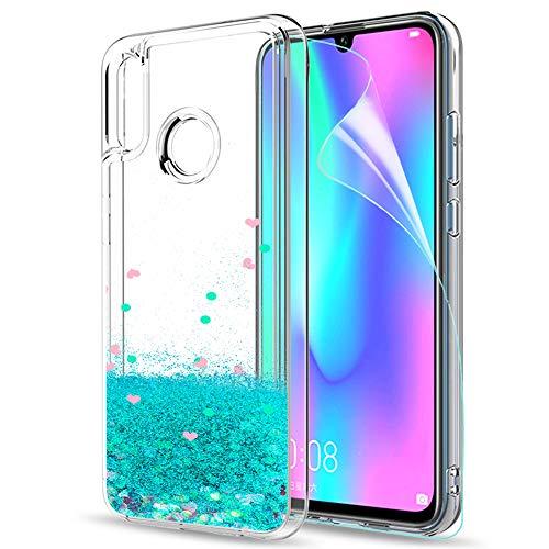LeYi Hülle Huawei P Smart 2019 Glitzer Handyhülle mit HD Folie Schutzfolie,Cover TPU Bumper Silikon Clear Schutzhülle für Case Huawei P Smart 2019 / Honor 10 Lite Handy Hüllen ZX Turquoise