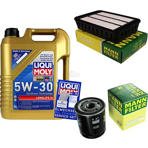 Preisvergleich Produktbild Filter Set Inspektionspaket 5 Liter Liqui Moly Motoröl Longlife III 5W-30 MANN-FILTER Luftfilter Ölfilter
