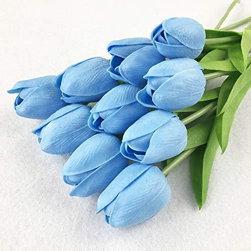 ToBe-U Ramo de Flores Artificiales de 20 Cabezas de Tulipanes de Poliuretano de Tacto Real para el hogar, la Oficina, Azul, Free