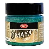 Viva Decor Maya - Pintura de oro, acrílico, turquesa/gasolina, tamaño mediano