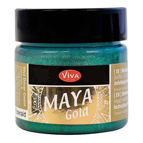Viva Decor® Maya Gold (Smaragd, 45 ml) glänzende Metallic Farben zum Basteln - Acrylfarben Gold Metallic für Holz, Pappe, Beton, Papier, Leinwand uvm. - Made in Germany