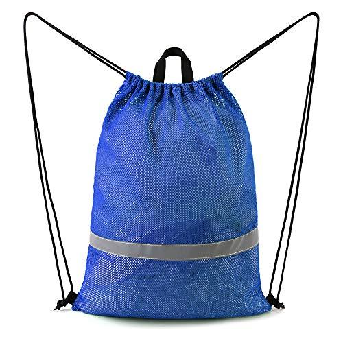 BeeGreen Blue Mesh Bag Drawstring Backpack Reflective Sports String Bag with Zipper Pocket 17.4'W x...