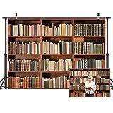 LYWYGG 7X5FT Telón de fondo de biblioteca Oficina Telón de fondo retro Estantería Libro mágico Biblioteca antigua Fondo de fotografía de vinilo Accesorios de estudio Telón de fondo de biblioteca CP-49