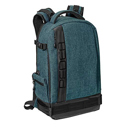 PEDEA DSLR-Kameratasche Fashion Fototasche für Spiegelreflexkameras mit wasserdichtem Regenschutz, Tragegurt und Zubehörfächern (Rucksack, Petrol)