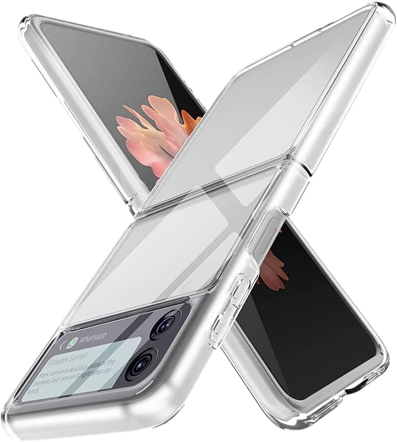 ROVO Ultra Slim Transparent Phone Case Cover for Samsung Galaxy Z Flip 3 Foldable Ultra-Thin Shockproof Full Coverage Clear Protective Shell