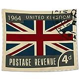 Yo Chairon Tapiz para Colgar en la Pared, diseño Vintage de Londres con Bandera británica, poliéster, London Stampsih6426, 150 x 200c m