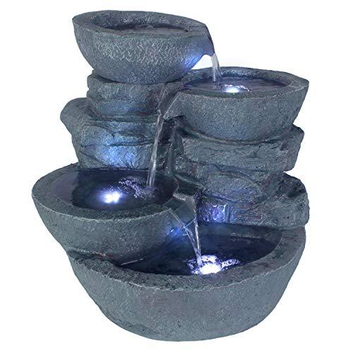 Arnusa Springbrunnen Cascades mit LED-Beleuchtung Gartenbrunnen Zimmerbrunnen
