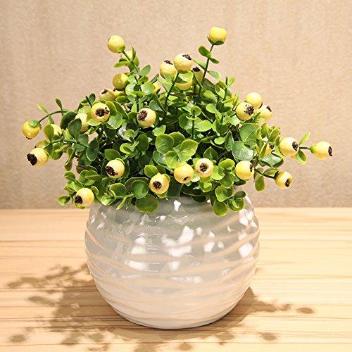 Emulatie bloem kunstbloemen taxus bosbessen bessen met keramische vazen kit home decor creatieve bloemen Ornamenten