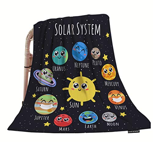 HGOD DESIGNS Space Throw Blanket,Cute Solar System Sun Moon Pluto and Planets On Space Soft Warm Decorative Throw Blankets for Adults Kids Women Men Girls Boys,40'x50'