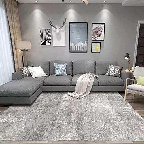 Outdoor-QJ Alfombra Moderna Grande Salón Tinta Abstracta Blanca Gris Antideslizante Fácil de Limpiar Diseño Utilizado para Dormitorio,Comedor,Habita 200x300CM