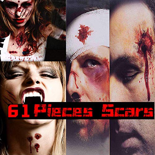 CHICHIC 61Pcs 12 Sheets Halloween Zombie Makeup Tattoos Stickers, Zombie Makeup Kit Temporary, Waterproof Wound Scar Tattoo, Fake Blood Makeup, Fake Scar Cuts, Vampire Skull Makeup, Safe for Kids