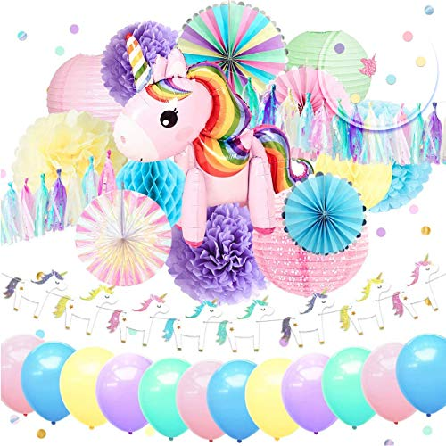 NICROLANDEE Unicorn Party Decorations Cute Unicorn Air Balloon Foil Rim Rainbow Paper Fans Blush Pink Lantern Tissue Paper Flowers Poms Jelly Glitter Banner for Birthday Baby Shower