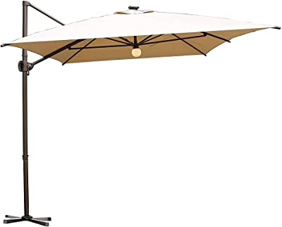 Abba Patio Outdoor Patio Umbrella with Tilt and Crank Lift, 8x12.5 Feet, Beige