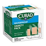 CURAD Waterproof Bandage Variety Pack, 3 Styles Included; Assorted Size, 120 Bandages