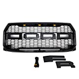 Paragon Front Grille for 2015-17 Ford F150 - Raptor Mesh Style Full Front Grill with Three LED Lights (Gloss Black)