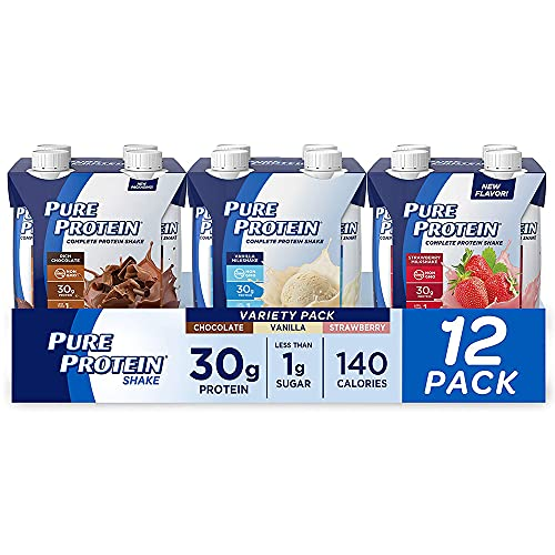 Pure Protein Variety Pack Protein Shake | 30g Complete Protein | Keto-Friendly RTDs | Chocolate, Vanilla, Strawberry | Vitamins A, C, D & E plus Zinc Support Immune Health | 11oz Bottles | 12 Pack