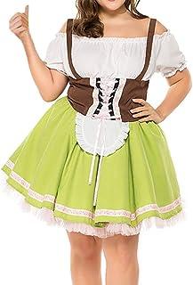 Mxssi Damen Oktoberfest Dirndlkleid Bayern Trachtenkleid R/üschen Bow Midikleid Kurzarm Hohe Taille Maid Kleider f/ür Halloween Party Karneval