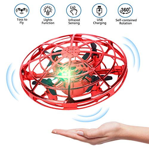 UFO Drone-Hand Operated Drones Flying Ball Drones for Kids and Adults, Indoor Flying Toys with 360 Rotating and Shinning LED Lights Helicopter Toy for Boys or Girls (Red)