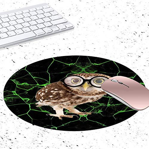 Gaming Mouse Pad,Marbled Mouse Pad Owl with Glasses Non-Slip Rubber Circular Mouse Pads Customized Designed for Home and Office, 7.9 x 7.9inch