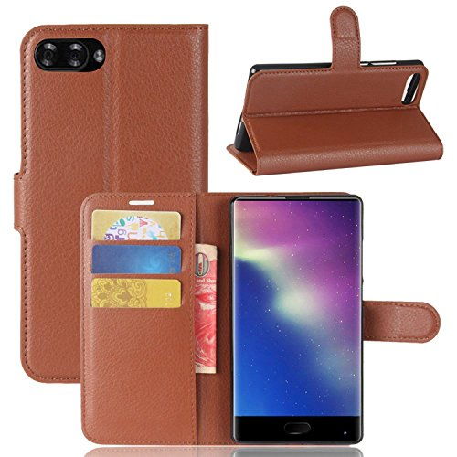 Tasche für Doogee MIX Hülle, Ycloud PU Kunstleder Ledertasche Flip Cover Wallet Case Handyhülle mit Stand Function Credit Card Slots Bookstyle Purse Design braun