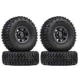 INJORA RC Neumáticos con RC Beadlock Llantas 1.55inch RC Wheel Set para 1/10 RC Crawler Car Axial AX90069 D90 TF2 Tamiya CC01 LC70 MST JIMNY (Negro)