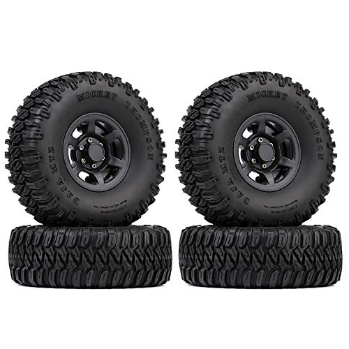 INJORA RC Reifen Set 1,55inch RC Reifen mit Beadlock Plastik RC Felgen für 1/10 RC Crawler Car Axial AX90069 D90 TF2 Tamiya CC01 LC70 MST JIMNY (Schwarz)