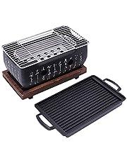 Casinlog Japanse barbecue grill voor 2-4 personen, draagbare grill, oven van Japanse levensmiddelen, houtskooloven met antiaanbaklaag bakplaat
