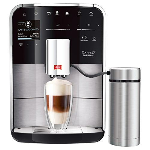 Melitta Caffeo Barista TS F760-200 Kaffeevollautomat mit Milchbehälter | intenseAroma Funktion | One Touch Funktion | 21 Kaffeevariationen | TFT-Farbdisplay | Touch&Slide | Edelstahl