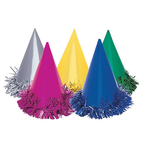 Unique Fringed Foil Party Hats, Assorted 6ct