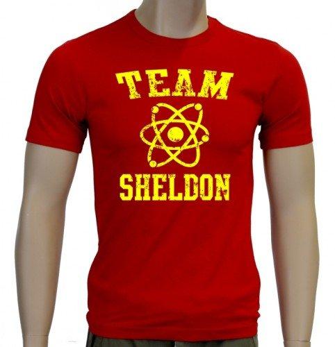TEAM SHELDON - big bang theory ! T-Shirt Vintage Rot_Gelb_SLIM Gr.XXL