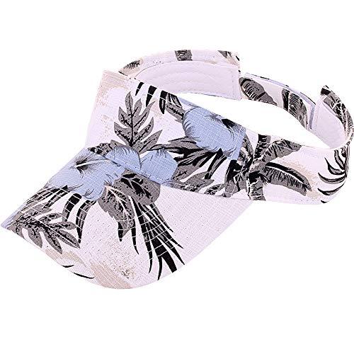 CRUOXIBB Hawaiian Floral Print Sun Visor Hats Sports Outdoor Baseball Cap for Women White
