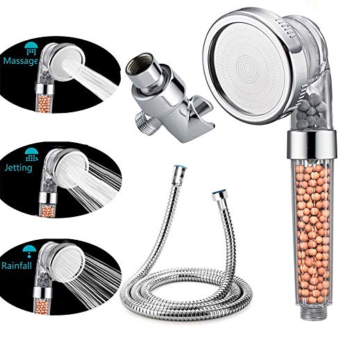 VIKILY Shower Head With Replacement Hose And Holder, High Pressure Water Saving Handheld Shower Head With 3 Setting Spray 1.6 GPM For Great Shower Experience