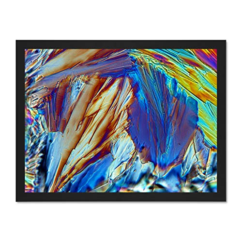 Abstract Glucose Crystal Electron Microscope Large Black Framed Art Print Wall Poster 18x24 inch