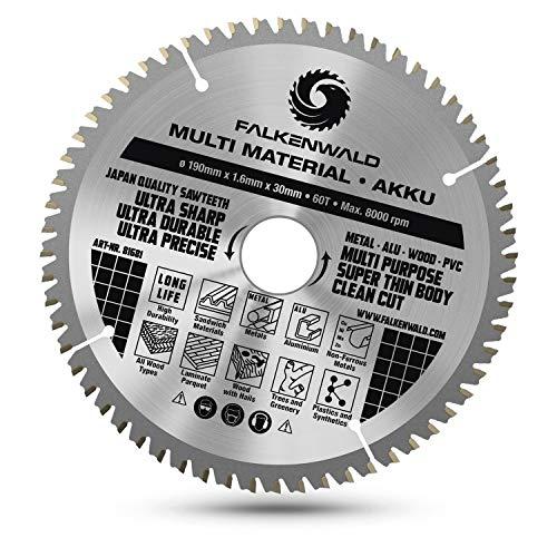 FALKENWALD® Sägeblatt 190x30 mm (Akku) - Ideal für Holz, Metall & Aluminium - Kompatibel mit Bosch GKS 65, PKS 66 AF - Universal Kreissägeblatt 190x30 mm