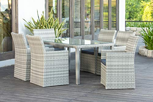 Backyard Furniture Palma Rattan Wicker 6 Seat Square Dining Set with Cushions and Weatherproof Furniture Cover