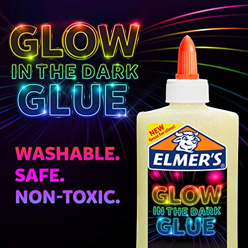 Elmer's glow-in-the-dark Liquid Glue Washable, Assorted Colors, 5 Ounces Each, 4 Count