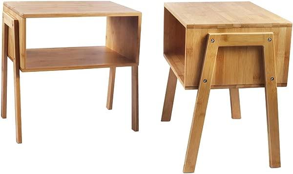LASUAVY 竹制床头柜可堆叠边桌茶几床头柜 2 件套