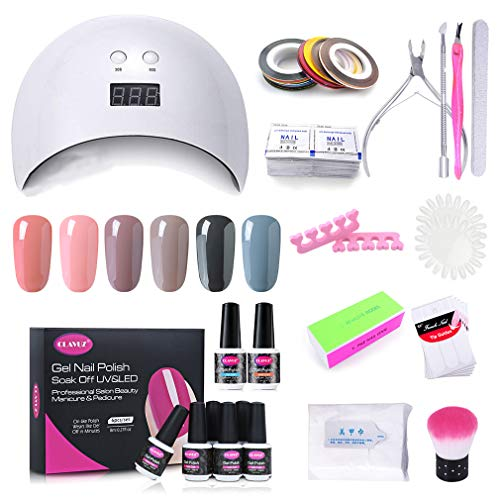 Clavuz Lámpara UV LED 24w, Esmaltes Semipermanentes en Gel UV LED 6 Colores con Base Coat y Top Coat, Secador de Uñas con Accesorios 010