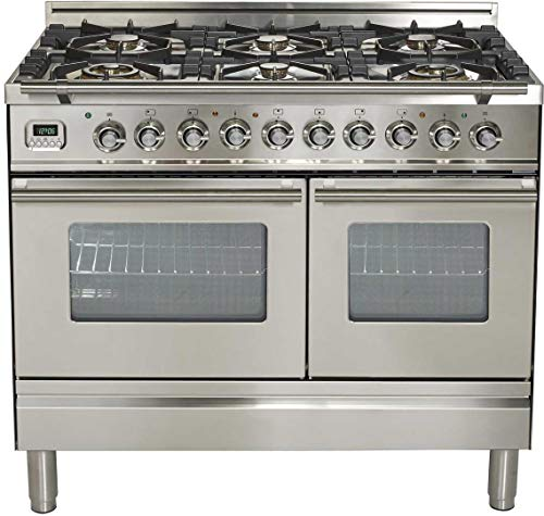 Ilve UPDW1006DMPI Pro Series 40 Inch Dual Fuel Convection Freestanding Range, 6 Sealed Burners, Double Ovens, 3.88 cu. ft. Total Oven Capacity in Stainless Steel (Natural Gas)