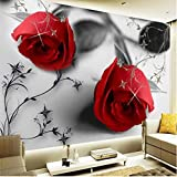 Bhposd Custom 3D Three-Dimensional Large-Scale Mural Wallpaper Modern Black and White Rose Pattern Tv Background Wall 280X200Cm