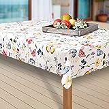 laro Wachstuch-Tischdecke Abwaschbar Garten-Tischdecke Wachstischdecke PVC Plastik-Tischdecken Eckig Meterware Wasserabweisend Abwischbar AQ, Größe:100-140 cm, Muster:Blumen, Schmetterling/bunt