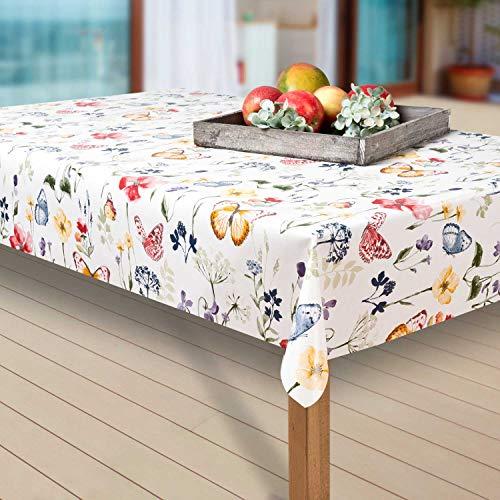 laro Wachstuch-Tischdecke Abwaschbar Garten-Tischdecke Wachstischdecke PVC Plastik-Tischdecken Eckig Meterware Wasserabweisend Abwischbar AQ, Größe:130-160 cm, Muster:Blumen, Schmetterling/bunt