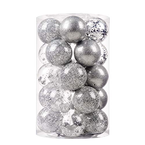 """SY CRAFT 70mm/2.76"""" Christmas Ball Ornaments Shatterproof Clear Plastic Christmas Decoration Xms Balls Baubles Set with Stuffed Delicate Decorations(25 Counts,Silver)"""