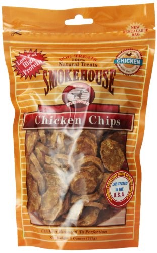 Smokehouse 100-Percent Natural Chicken Chips Dog Treats, 8-Ounce