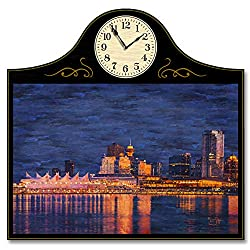 Northwest Art Mall Vancouver, BC, Canada Wood Wall Clock for Home & Office from Original Artwork by Artist Lisa Sofia Robinson 12 x 18 with 5 Clock Face.