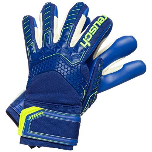 Reusch Guanti da portiere da uomo Attrakt Freegel S1 Finger Support, blu intenso, giallo e blu scuro, 10,5